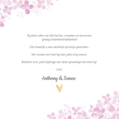 Bedankkaart roze Hortensia 3