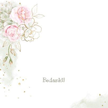 Bedankkaart roze rozen met goud 2