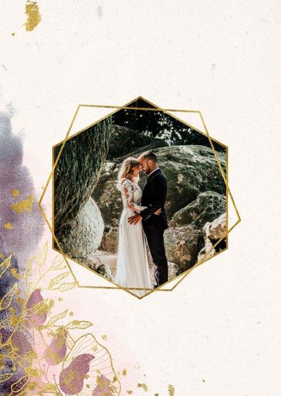 Bedankkaart stijlvol met foto, waterverf en gouden bloemen 2