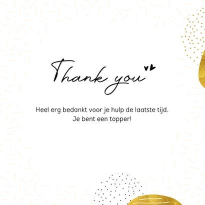 Bedankkaart 'Thank you' goudlook 3