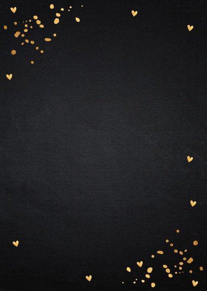 Bedankkaart trouwen fotocollage goud confetti 2