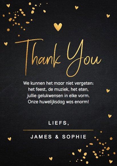 Bedankkaart trouwen fotocollage goud confetti 3
