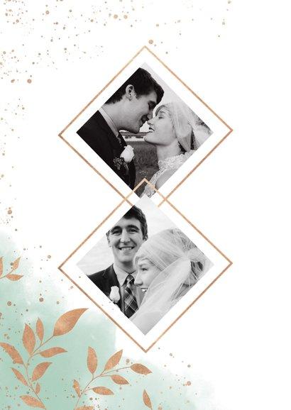 Bedankkaart trouwfeest met foto's, waterverf en takjes 2