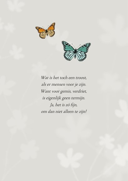 Bedankkaart vlinders overlijden rouw bloemen foto 2