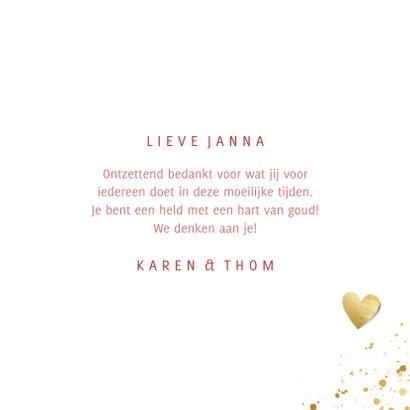 Bedankkaart vrouw hart van goud met spetters en waterverf 3