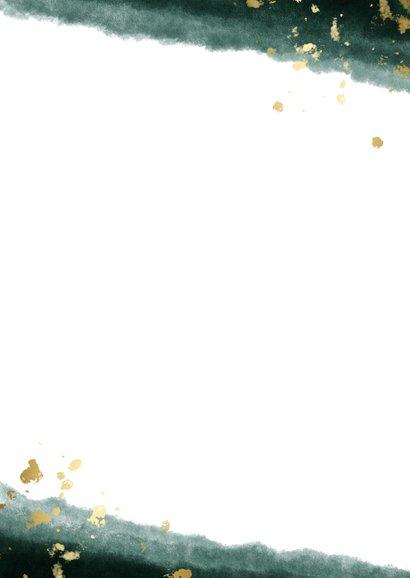 Bedankkaart waterverf gouden spetters met foto Achterkant