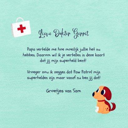 Bedankkaart zorgverlener superheld jongen 3