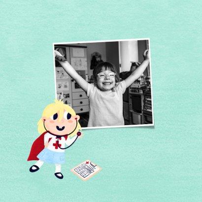 Bedankkaart zorgverlener superheld meisje 2