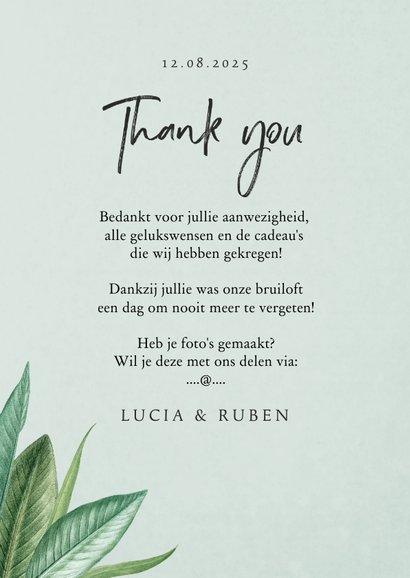 Bedankkaartje botanisch groen bladeren stijlvol 3