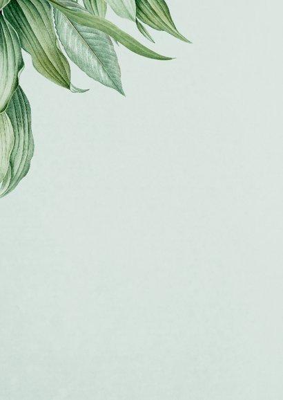 Bedankkaartje botanisch groen bladeren stijlvol Achterkant