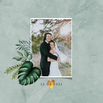 Bedankkaartje bruiloft stijlvol botanisch met fotocollage 2