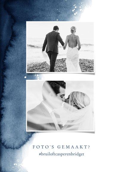 Bedankkaartje bruiloft verf inkt blauw met goudaccent hartje 2