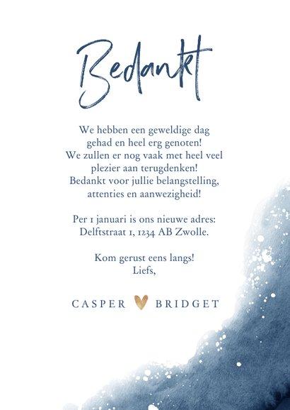 Bedankkaartje bruiloft verf inkt blauw met goudaccent hartje 3