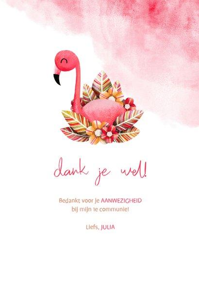 Bedankkaartje communie flamingo met waterverf 3