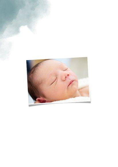 Bedankkaartje doop blauwe waterverf, ster en foto 2