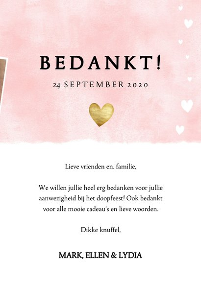 Bedankkaartje doopfeest roze waterverf, hartjes en foto's 3