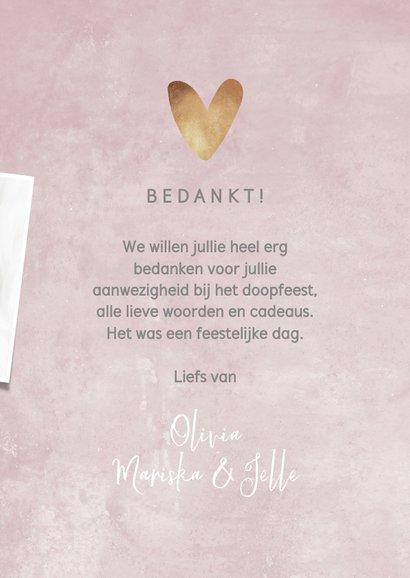 Bedankkaartje doopsel roze, fotocollage en hartje 3