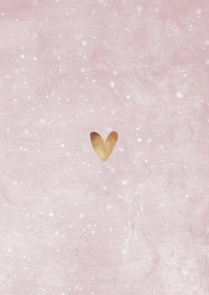 Bedankkaartje doopsel roze, fotocollage en hartje Achterkant