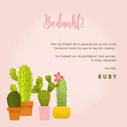Bedankkaartje eerste communie met cactussen en foto 3