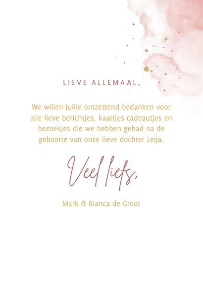 Bedankkaartje foto in hartjesvorm roze aquarel grote naam 3