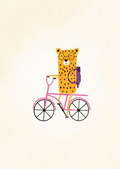 Bedankkaartje juf luipaardje op fiets met foto 2