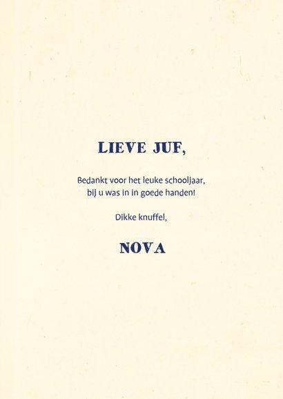 Bedankkaartje juf typografisch met naam en confetti 3