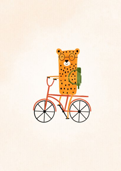 Bedankkaartje meester luipaardje op fiets met foto 2