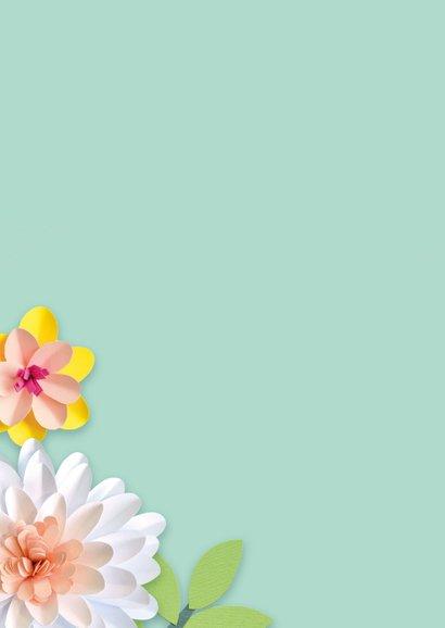 Bedankkaartje met bloemen juf 2