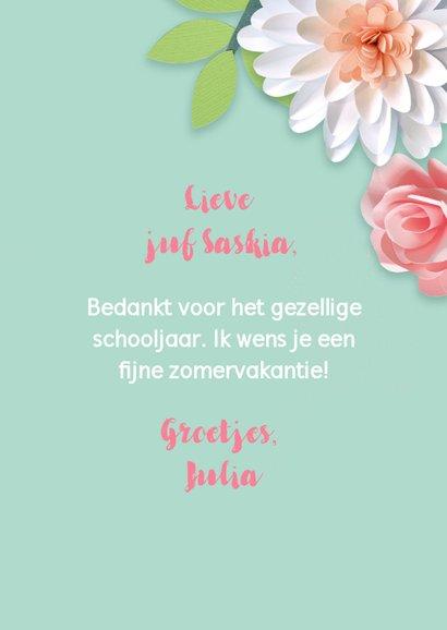 Bedankkaartje met bloemen juf 3