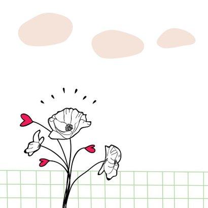 Bedankkaartje met illustratie bosje bloemen 2