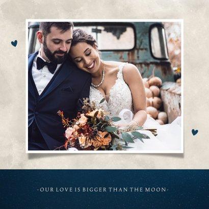 Bedankkaartje trouwen - met volle maan en hartjes 2