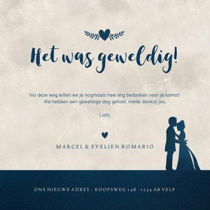 Bedankkaartje trouwen - met volle maan en hartjes 3