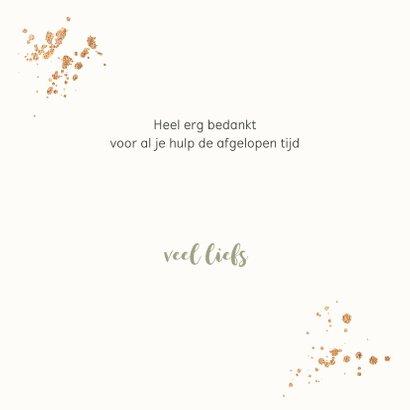 Bedankkaartjes - Bloemen in goud look met confetti 3