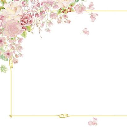 Bedankt goud kader met rozen 2