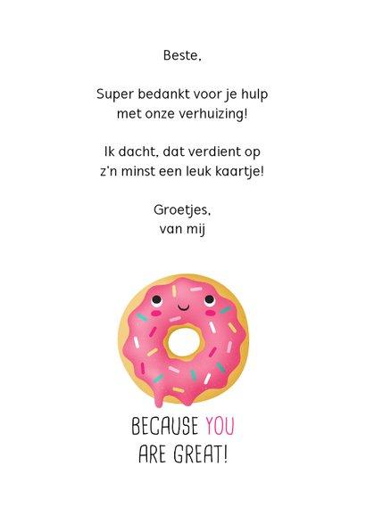 Bedankt kaart donut grappig humor 3