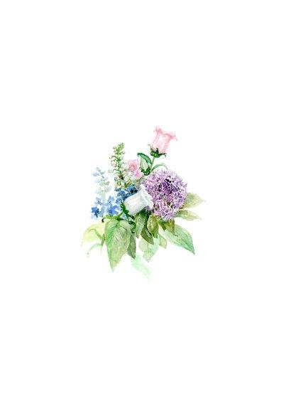 Beterschapkaart met bloemen aquarel schilderij 2