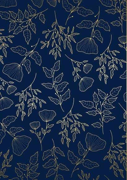 Beterschapskaart klassiek donkerblauw met gouden bloemen 2