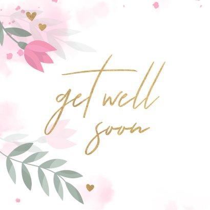 Beterschapskaart met bloemen, takjes, hartjes en waterverf 2