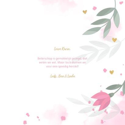 Beterschapskaart met bloemen, takjes, hartjes en waterverf 3