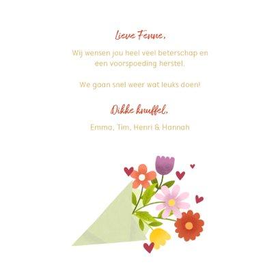Beterschapskaart met bos bloemen en gouden typografie 3