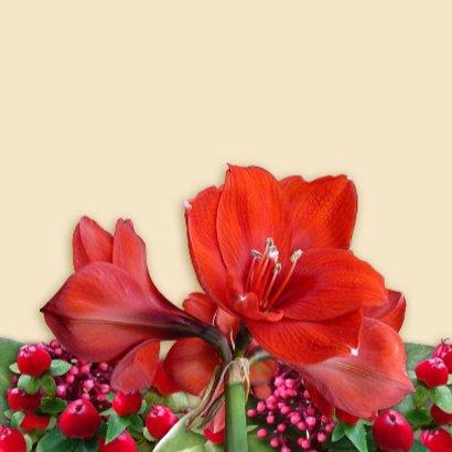 Beterschapskaart met bronskleurig hart en rode amaryllissen 3
