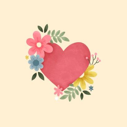 Beterschapskaart met roze hart, planten en bloemen 2