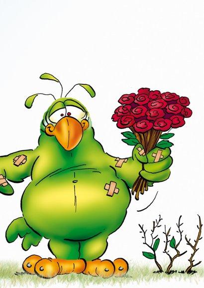 Beterschapskaart Rocco beterschap papegaai met rozen 3