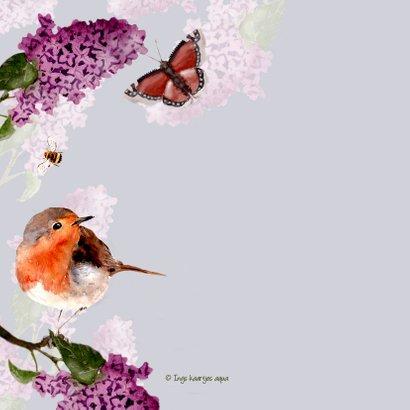 Beterschapskaart vogel tussen bloeiende Seringen 2