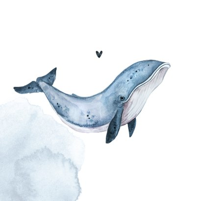 Beterschapskaart whale walvis waterverf 2