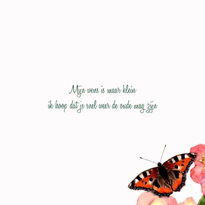 Beterschapskaart Zachte bloemen met vlinder 3
