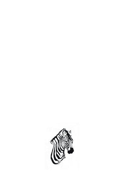 Bijzondere kaart met Zebra illustratie zwart-wit 2