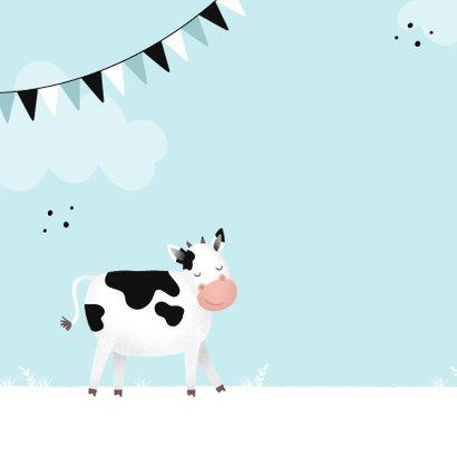 Blaue Glückwunschkarte Kindergeburtstag freundliche Kuh 2