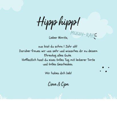 Blaue Glückwunschkarte Kindergeburtstag freundliche Kuh 3