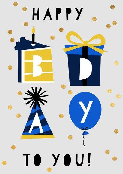 Blaue Konfetti-Glückwunschkarte 'happy bday to you' 2